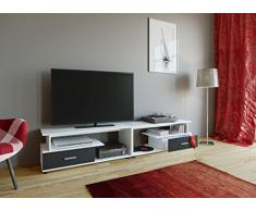 VCM TV Lowboard Schrank Tisch Rack Fernsehschrank Fernseh Möbel Bank Holz Weiß/Schwarz 43 x 220 x 40 cm Rimini Maxi
