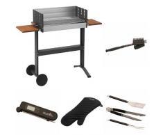 Dancook Holzkohlegrill 5300 62x32cm, mit Ablage + Grillbürste + Grillbesteck + Grillhandschuhe + Thermometer + Grillkorb