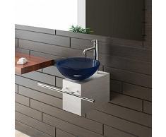 Alpenberger Aufsatzwaschbecken Blaue Glaswaschschale Ø 38 cm mit Edelstahlkasten und Handtuchhalter