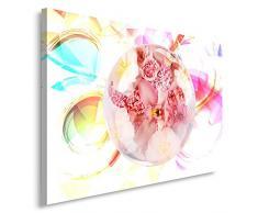 Feeby, Leinwandbild, Bilder, Wand Bild, Wandbilder, Kunstdruck 70x100cm, ABSTRAKTION, KOMPOSITION, GLAS KUGEL, BLUMEN, WEIß, MULTICOLOR