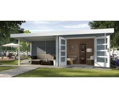 Weka Gartenhaus, Designhaus 126 B Größe 3, 28 mm, DT, Anbau 300 cm ohne RW, grau, 651x375x226 cm, 126.3030.45201