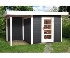 Weka Gartenhaus, Designhaus 172 A Größe 1, 28 mm, ET, Anbau 150 cm ohne RW, anthrazit, 430x314x226 cm, 172.2424.46101