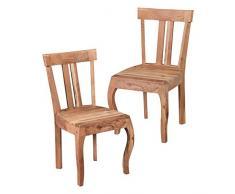 Wohnling 2er Set Esszimmerstühle KILA Holz Massiv Akazie, Landhaus Stuhlgruppe Echtholz, 2x Barock Esszimmerstuhl 4 Beine Natur, Küchen-Stühle Essgruppe- Esszimmer-Möbel