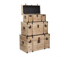 Kare 80814 Truhe Collect Nature Möbel, 3-er Set, Holz, hellbraun, 40 x 78 x 43 cm