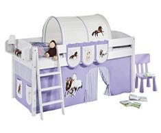 Lilokids IDA4105KW-PFERDE-LILA Kinderbett, Holz, pferd lila, 208 x 98 x 113 cm