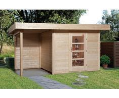 Weka Gartenhaus, Designhaus 172 A Größe 2, 28 mm, ET, Anbau 150 cm, ohne RW, braun, 430x375x226 cm, 172.2430.40101