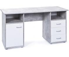 Inter Link 19700050 Schreibtisch, melaminharzbeschichtete Flachpressplatte, weiß betondekor, 148 x 60 x 75 cm