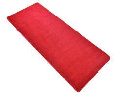 HANSE Home 101151 unifarben Teppich Läufer Brücke Bettumrandung Stufenmatten Treppenschoner, rot, 80 x 300 cm