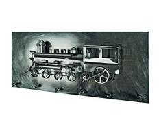 Haku-Möbel 32807 Wandgarderobe, 12 x 80 x 35 cm, schwarz-nickel