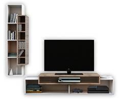 VCM 911656 2-teilig Design Wohnwand Mondega Wandregal, TV Lowboard, Fernsehmöbel, Rack, 110 x 130 x 40 cm, weiß / Sonoma-eiche