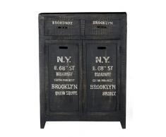 Sit Möbel Bronx 4269-11, Brotschrank mit je 2 Schubladen & Türen, Mangoholz, schwarz lackiert, Wordprints, 90 x 35 x 120 cm