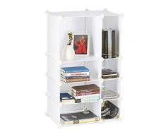 Relaxdays Regalsystem Steckregal mit 8 Fächern, flaches Standregal für das Büro, Kunststoff Allzweckregal, weiß