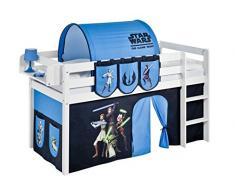 Lilokids Spielbett Jelle Star Wars the Clone Wars, Hochbett mit Vorhang Kinderbett, Holz, weiß, 198 x 98 x 113 cm