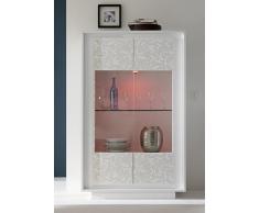 SKY 2 Glasstürige Vitrine, Holz, Weiß Matt / Blumen Deko, 106 x 50 x 171 cm