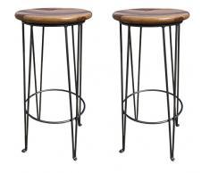 2er Set Barhocker Boston Barstuhl Bistrohocker Industrial Design Beine aus Eisen Sitzfläche Palisander Holz (hellbraun)