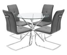 Febland Chrom Criss-Cross-Basis Esstisch und 4 Belmont Esszimmerstühle, Glas, Grau, 74 x 90 x 90 cm