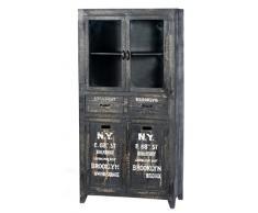 Sit Möbel Bronx 4204-11, Vitrine mit 4 Türen, 2 Schubladen, Mangoholz, schwarz lackiert, Wordprints, 90 x 40 x 180 cm