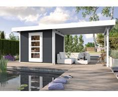 Weka Gartenhaus, Designhaus Line 172 B,Größe 1, 28 mm, ET, Anbau 300 cm, anthrazit, 544x284x226 cm, 172.2121.76201
