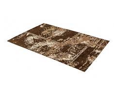 ASTRA 6805054163060 Webteppich Teramo in verschiedenen Farben und Größen erhältlich, Teppich, Polyester, patchwork braun, 140 x 200 x 1,3 cm