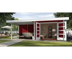 Weka Gartenhaus, Designhaus 126 B Größe 3, 28 mm, DT, Anbau 300 cm ohne RW, schwedenrot, 651x375x226 cm, 126.3030.43201