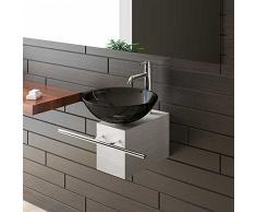 Alpenberger Aufsatzwaschbecken Schwarze Glaswaschschale Ø 42 cm mit Edelstahlkasten und Handtuchhalter