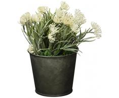 Versa 21180011Blumentopf mit Kunstpflanze, Metall, Grün, 6x 6x 14cm
