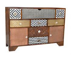 SIT-Möbel 4003-30 Sideboard Ebony, 115 x 35 x 80 cm, Mango / MDF mit Messing / Metall / Kupfer / Coconut Shell / Knochen, lackiert, braun