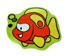 Weltweit TOPOISSONCLOWN Teppich - 100 Kinderteppich am Rand des Clownfisch Gerundete Form, Polypropylen, 100 x 100 cm, gelb