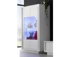 SKY 2 Glasstürige Vitrine, Holz, Weiß Matt, 106 x 50 x 171 cm