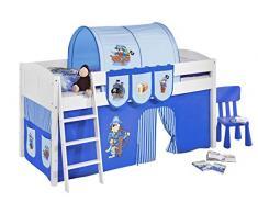 Lilokids IDA4106KW-PIRAT-BLAU-S Kinderbett, Holz, pirat blau, 208 x 98 x 113 cm
