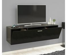 VCM TV Wand Board Schrank Tisch Fernseh Lowboard Wohnwand Regal Wandschrank Hängend Schwarz 40 x 140 x 36 cm Fernso