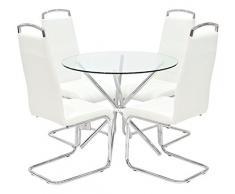 Febland Chrom Criss-Cross-Basis Esstisch und 4 Griff Esszimmerstühle, Glas, Weiß, 74 x 90 x 90 cm