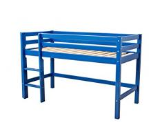Hoppekids BASIC-A4-79-1 My Color Halbhochbett, Spiel-/Junior-/Kinder-/Jugendbett, Kiefer massiv, 4 Farben Liegefläche 90 x 200 cm, Holz, blau, 208 x 101 x 105 cm