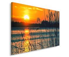 Feeby, Wandbild - 1 Teilig - 80x120 cm, Leinwand Bild Leinwandbilder Bilder Wandbilder Kunstdruck, SONNENUNTERGANG, SEE, NATUR, ORANGE