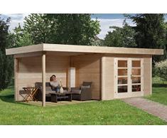 Weka Gartenhaus, 126 B Größe 1, 28 mm, DT, Anbau 300 cm ohne RW, braun, 651x314x226 cm, 126.3024.40201