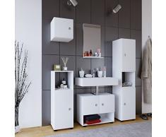 VCM Badmöbel Komplett Set 5tlg Komplettbad Badezimmer Bad Schrank Regal Unterschrank Spiegel Holz Weiß Intola l