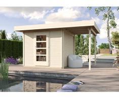 Weka Gartenhaus, Designhaus Line 172 A, Größe 3, 28 mm, ET, Anbau 150 cm, natur, 489x377x226 cm, 172.3030.70101