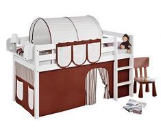 Lilokids Spielbett Jelle, Hochbett mit Vorhang Kinderbett, Holz, braun / beige, 198 x 98 x 113 cm