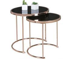 WOHNLING Design:er Set Satztisch ø¸ 42 cm / 45 cm Metall Glas schwarz/Kupfer   Beistelltisch verspiegelt Wohnzimmertisch modern   Glastisch Kaffeetisch rund