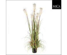 MICA Decorations Federgras Foxtail Weiss im Kunststofftopf Kunstpflanze, PVC, grün 20 x 20 x 180 cm, 2-Einheiten