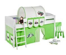 Lilokids IDA4106KW-TRECKER-GRUEN Kinderbett, Holz, trecker grün, 208 x 98 x 113 cm
