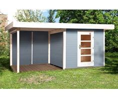 Weka Gartenhaus, Designhaus 172 B Größe 1, 28 mm, ET, Anbau 300 cm ohne RW, grau, 575x314x226 cm, 172.2424.45201