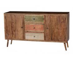 SIT-Möbel Scandi 4303-01 Sideboard, 2 Türen & 3 bemalte Schubladen, aus Sheesham-Holz, natur, 150 x 85 x 38 cm