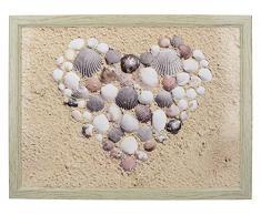 Creative Tops den täglichen Gebrauch Zuhause Gepolsterte Sitzsack Knietablett mit Shell Herz dekorativer Print, 44 x 34 cm (44,5 x 34,3 cm), MDF, beige, 43,8 x 33,8 x 9,5 cm