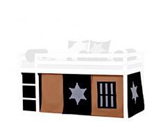 Hoppekids Cowboy 5-teilig Vorhang, Bettvorhang, Gardinensetinklusiviv Gardinen Drahtseil für Halbhochbett, Spielbett Maße 90 x 200 cm, Textil, braun/schwartz/grau, 200 x 90 x 72 cm