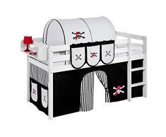 Spielbett JELLE Pirat Schwarz Weiß - Hochbett LILOKIDS - weiß - mit Vorhang