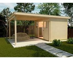 Weka Gartenhaus, Lounge-Haus 225 A Größe 2, 21 mm, Schiebetür, 300 cm, ohne RW, braun, 618x325x223 cm, 225.3030.10201