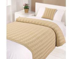 Highams Baumwolle Geflochtenes Kabel Knit Bett Überwurf, Decke, Natur, Single, 125 x 150 cm
