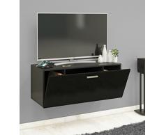 VCM TV Wand Board Schrank Tisch Fernseh Lowboard Wohnwand Regal Wandschrank Hängend Schwarz 40 x 95 x 36 cm Fernso