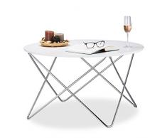 Relaxdays Beistelltisch rund, Couchtisch Holz mit geschwungenen Metallbeinen, Wohnzimmertisch groß, HxBxT: 50x90x90 cm, weiß